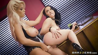 Two wild and irregular lesbians have a dildo for drilling wet pussies
