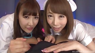 Sweet Japanese teen Kisaki Aya shares a cock and cum with her friend