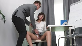 Seductive schoolgirl gets laid with the tutor and loves it