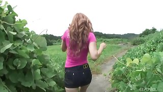 Outdoor POV blowjob from an amateur redhead Japanese teen with no tits