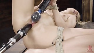 Blonde inclusive is happy thither be tied and forced thither cum many times