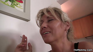 Hairy mom and girl have lesbian petting with again other
